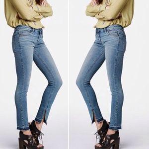 Free People Raw Hem Skinny Jeans vented cuff 25